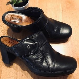 Clark's Artisan leather heeled slip on shoes